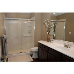 White River Bath USA Made Bull Shoals 43-46 inch x 67 3/8 inch Shower Slider (Bronze; Glass Type: Obscure Glass), Clear