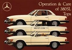 MERCEDES BENZ R107 OWNERS MANUAL 107 CONVERTIBLE SOFT AND HARD TOP 380SL 380 SL