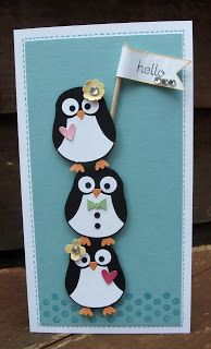 Cute Stacked Penguins Card...I am pretty sure this is done with the owl punch, using black and white.