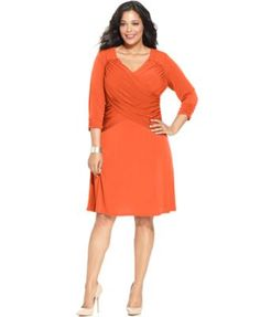 NY Collection Plus Size B-Slim Three-Quarter-Sleeve Cross-Front Dress | macys.com