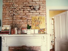 New living room modern loft exposed brick walls Ideas Exposed Brick Bedroom, Exposed Brick Fireplaces, Exposed Brick Kitchen, Brick Wall Bedroom, Living Room Modern, Living Room Interior, Living Rooms, Living Spaces, Yellow Doors