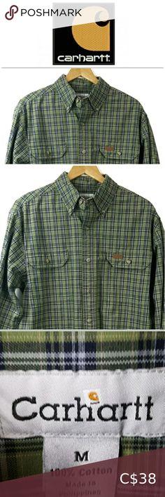 Carhartt Mens Casual Button Front Plaid Shirt M Casual Shirts For Men, Casual Button Down Shirts, Men Casual, Carhartt Shirts, Blue Plaid, Underarm, Colorful Shirts, Plus Fashion, Fashion Trends