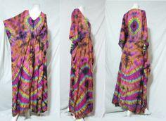 vtg HIPPIE BOHO thai handmade full rainbow tie dye kimono kaftan maxi dress 756 #Unbranded #Maxi #Casual