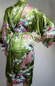 ac86a55f54 Ladies Green Peacock Design Chinese Kimono Robe Dressing Gown Size 16  200150