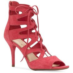 Jessica Simpson Women's Mitta Gladiator-Inspired Cage Sandals ($34) ❤ liked on Polyvore featuring shoes, sandals, bright pink, lace-up sandals, open toe gladiator sandals, laced up shoes, rubber sole sandals and caged lace up sandals