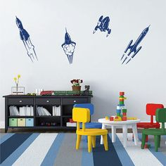 kik1183 Wall Decal Sticker space rocket children's room