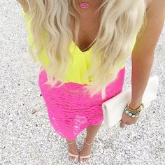 love everything about this outfit! Especially the yellow + pink combo!