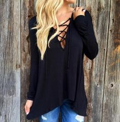 Edgy Strappy-Front Lace-Up Long Sleeve Hooded Shirt