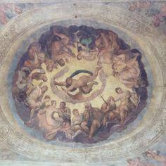 Particolare della Loggia d'ingresso: Il concilio degli dei.
