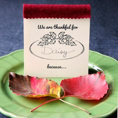 These place cards are a Thanksgiving dinner game & keepsake book all rolled into one. Invite guests to write down why they are grateful for each other.