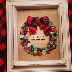 Yep, it's November and that means onto Christmas. I've been a busy gal making Christmas things the past few weeks. This wreath was made with vintage buttons on burlap with scrabble letters in a vintage distressed frame & buffalo check ribbon. I'm so happy how it turned out! #christmas #christmasdecorations #christmasdecor #vintagestyle #upcycled #roostatlynndalefarm #shoplocal #pewaukee #gratefuldaisy #homedecor #madewithlove #vintagedecor #oneofakind #wreath