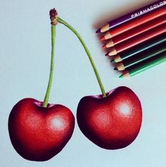One of my latest drawings of cherries with prismacolor pencils which took me about two hours to complete. Colored Pencil Artwork, Coloured Pencils, Color Pencil Art, Pencil Art Drawings, Cool Art Drawings, Realistic Drawings, Colorful Drawings, Art Drawings Sketches, Drawing Art