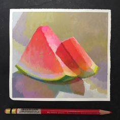 Tutorial recording didn't go as planned. Until next time, left over water melons. Fruit Painting, Gouache Painting, Painting & Drawing, Papier Paint, Peter Chan, Impressionist Art, Traditional Paintings, Fruit Art, Illustrations And Posters