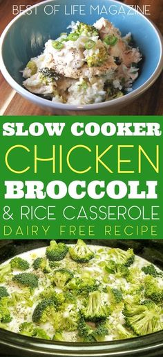Enjoy this slow cooker chicken broccoli and rice casserole recipe on your dairy free diet. It takes just minutes to prep in your crock pot so its easy to add to your weekly crockpot chicken meal plan for easy weeknight meals. Crockpot Dairy Free, Chicken Recipes Dairy Free, Dairy Free Diet, Gluten Free Recipes Crock Pot, Dairy Free Dinners, Chicken Broccoli Rice Casserole, Crock Pot Chicken And Rice Recipe, Crockpot Chicken Casserole, Chicken Broccoli Crockpot