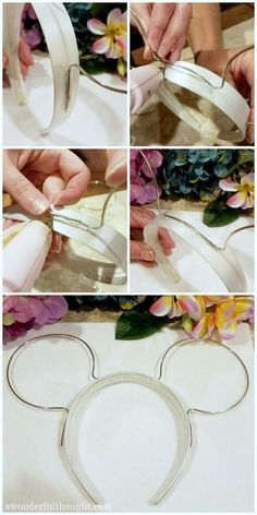 DIY Floral Wire Minnie Ears is part of Diy disney ears - You don't have to spend a lot of money buying a set of Minnie ears for Disney! Learn how to make your own set of adorable DIY Floral Wire Minnie Ears! Wine Bottle Crafts, Mason Jar Crafts, Mason Jar Diy, Diy Disney Ears, Disney Mickey Ears, Diy Mickey Mouse Ears, Micky Ears, Disney Bows, Deco Disney