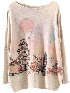 Apricot Long Sleeve Building Print Loose Sweater $18.33. so cute and affodable. i want one!