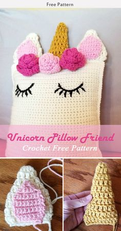 crochet toys This Unicorn Pillow Friend Crochet Pattern is a cute and simple pillow that your girls will sure to enjoy. Make one now with the free pattern provided by the link below. Crochet Unicorn Blanket, Crochet Unicorn Pattern Free, Unicorn Pillow, Crochet Pillow Pattern, Crochet Cushions, Free Crochet, Crochet Baby, Toy Unicorn, Free Pattern