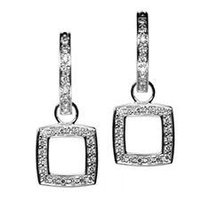 18K White Gold Cushion Cut Earring Charms