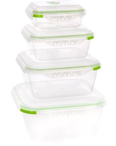 Ozeri INSTAVAC Green Earth Food Storage Container Set, BPA-Free 8-Piece Nesting Set with Vacuum Seal and Locking Lids. Glass is best, but th...