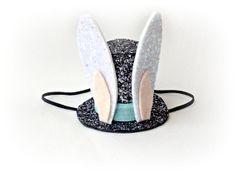 Easter Bunny Hat Easter Bunny Ears Black Top Hat Mini Hat $29.50