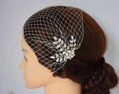 Wedding Veil Birdcage Veil Bridal Headpiece Bandeau veil