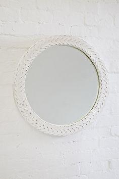 Large Plaited Round Mirror White