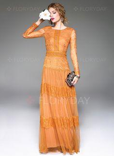 Dresses - $132.92 - Polyester Silk Solid Long Sleeve Maxi Elegant Dresses (1955108490)
