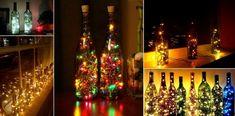 déco récup avec des bouteilles de vin vides et des guirlandes lumineuses pour…