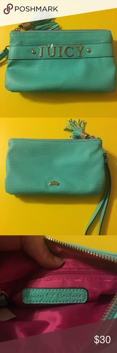 """Juicy Couture Aqua/Mint 2-pocket Wristlet This was also given to me as Christmas gift, but it's just not my style. It does not have tags, but it has never been used, and still has the plastic covering the """"Juicy"""" on the front. The color is beautiful, but I have no use for it. It does fit an iPhone 6s+, so you don't have to worry about whether or not your phone will fit. That's always a big thing I look for when buying a wristlet. It also has to pockets, so you can keep your phone and money…"""