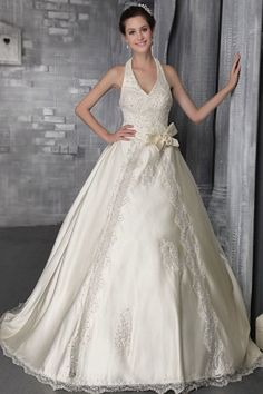 93 Wonderful Satin Wedding Dress with Halter Neckline - Beauty Ideas Cheap Lace Wedding Dresses, Plus Size Wedding Dresses With Sleeves, Beaded Wedding Gowns, Ivory Lace Wedding Dress, Inexpensive Wedding Dresses, 2016 Wedding Dresses, Wedding Dress Styles, Bridal Gowns, Gown Wedding