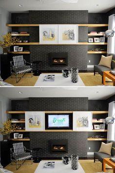 Comment cacher la télé dans ton salon ? Piste créative : la camoufler avec des cadres sur système coulissant. - par Tandem