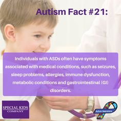 """Autism Fact #21: """"Individuals with ASDs often have symptoms associated with medical conditions, such as seizures, sleep problems, allergies, immune dysfunction, metabolic conditions and gastrointestinal (GI) disorders"""". 