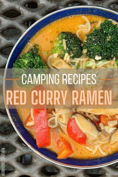 Are you on-the-road ready? This Red Curry Ramen Noodle Bowl is the perfect vegan camping recipe for getting your spicy on by the campfire. Find this and a lot of other vegan camping recipes on Herbivore's Kitchen's Ultimate Guide to Vegan Camping Recipes! #ramennoodles #ramennoodlebowl #redcurryramen #vegancamping #veganrecipes #campingrecipes #summer-recipes Healthy Summer Recipes, Best Vegan Recipes, Curry Recipes, Asian Recipes, Soup Recipes, Vegetarian Recipes, Dinner Recipes, Camping Dishes, Camping Recipes