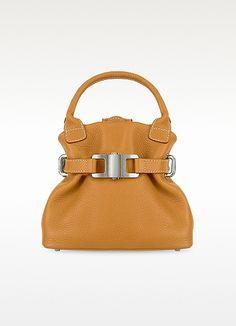 Camel Italian Pebble Leather Small Handbag - Buti