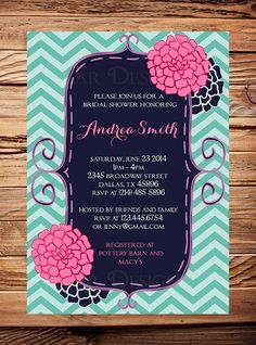 Bridal shower InvitationNavy Pink por StellarDesignsPro en Etsy