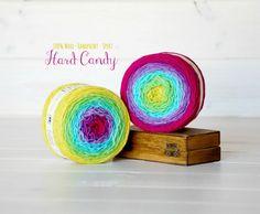 2 Hand Dyed Yarn Balls - 100% Wool - Color: Hard Candy Ombre - 1Ply Sport Yarn - Colorful Soft Yarns by Freia - 2 Balls - Fuchsia Sport Yarn