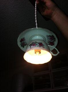 Stunning Antique Tea Cup Pendant Ceiling Lights by rustjunkies, $50.00