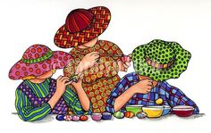 The Girls Celebrate Easter - Carolyn Stich Studio
