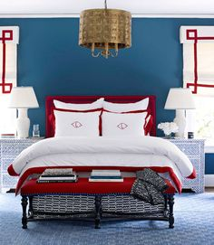 Maybe I'll do these sheets with my swiss army blankets and red headboard…my room with the twin beds is already painted blue, and I have 2 pendant lights from pottery barn to hang over the beds already