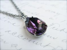 Vintage Style Amethyst Necklace  Antique Silver by sweetsimple, $17.00