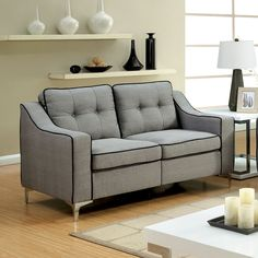 Sylvanas Contemporary Tufted Fabric Loveseat By Furniture of America (Beige)