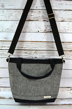 Camera bag in Black and white Wool Herringbone by DarbyMack