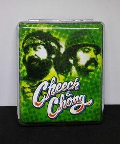 Cheech & Chong Green Silver Framed PU Leather 100s Size Cigarette Case