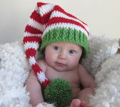 Baby Christmas Crochet Long Tail Elf Hat by ChasenSophieBoutique, So cute for baby, Christmas card, Christmas gift!