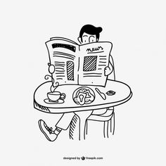 Homem lendo jornal desenho Vetor grátis