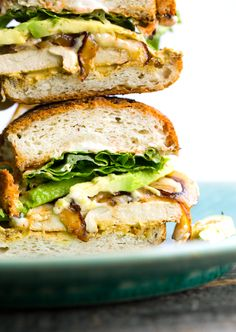 "Vegan Dijon ""Chickn"" Sandwich with Cheese and Avocado"