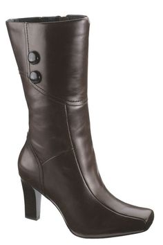 Hush Puppies Maron Tall Shaft Boots In Dark Brown Leather