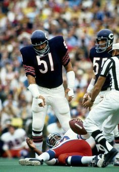 Butkus after delivering one of his devastating hits on a Denver Bronco.
