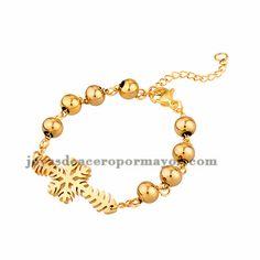 brazalete de bola dorado con copo nieve en acero inoxidable -SSBTG954069