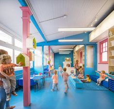 Vivid colours and playful furnishings added to an east London school.